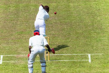Cricket Action Batsman Ball Bowler Wicket Keeper Closeup unidentified.