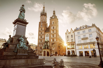 Main market square in old town of Krakow, Poland