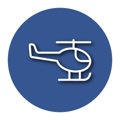 Line icon of helicopter with shadow. EPS 10