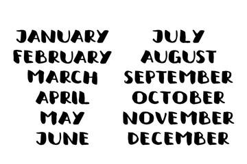 Handwritten names of months. calendar template.