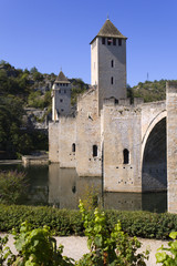 Europe, France, Midi Pyrenees, Lot, the historic Pont Valentre fortified bridge over the Lot River at Cahors