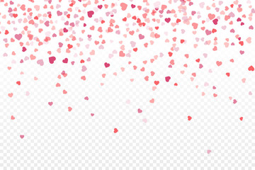 Vector realistic isolated heart confetti on the transparent background for decoration and covering. Concept of Happy Valentine's Day, wedding and anniversary