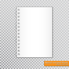 Realistic spiral notepad blank on transparent background. Vector