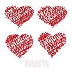Scribble hearts, Red drawings hearts, vector illustration