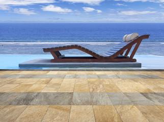 piscine à débordement avec vue sur lagon tropica