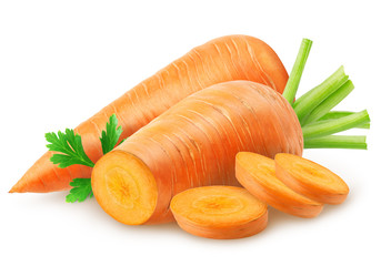 Isolated carrots. Carrot with slices isolated on white background, with clipping path