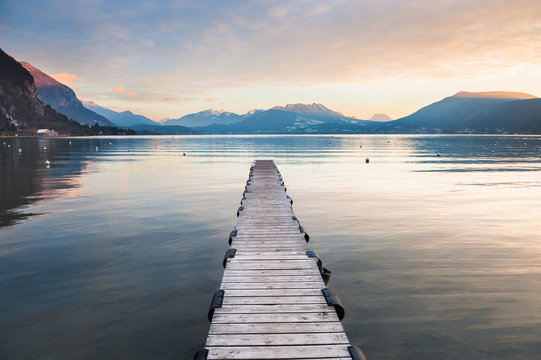 Annecy lake in French Alps at sunset