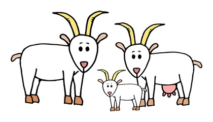 Cute kid easy vector illustration of goat family including mother, father and kid, isolated on white background.