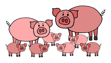 Cute kid easy vector illustration of pig family including mother, father and kids, isolated on white background.