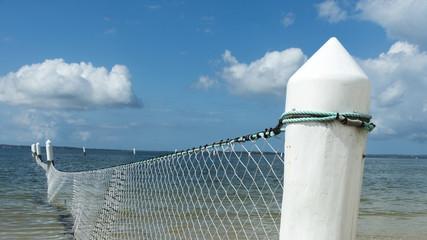 Shark net panorama Brighton Beach Sydney Australia.
