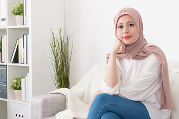 confident muslim business woman face to camera