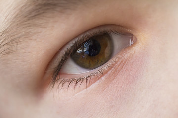 Close up macro of child boy eye