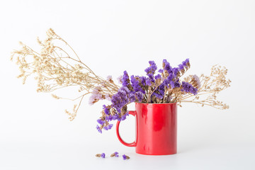 Dried flowers in a red coffee cup.  Sea lavender and Gypsophila paniculata(Babysbreath)