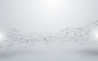 Wall Mural - Abstract connections lines and polygons on white background