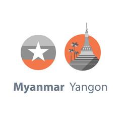 Yangon symbol, Shwedagon pagoda, Myanmar travel destination, culture and architecture, famous landmark, round flag