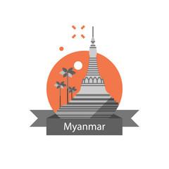 Yangon symbol, Shwedagon pagoda, Myanmar travel destination, culture and architecture, famous landmark