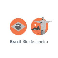 Christ the Redeemer statue, Brazil symbol, famous landmark, Rio de Janeiro travel destination, tourism concept, round flag