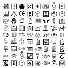 Box line simple icon set