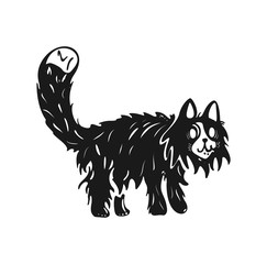 An illustration of a wierd cat . Black and white drawing.