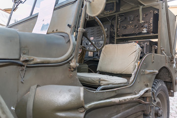 Closeup View of Military Car's Interiors for Radio Communications from World War II
