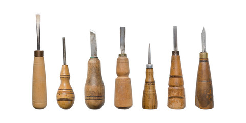 Isolated chisels. A set of chisels isolated on white background