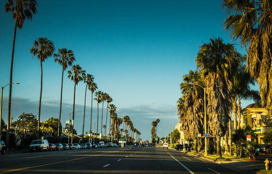 Picturesque urban view in Santa Monica, Los Angeles, California