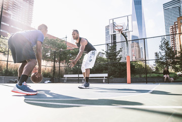 Basketball player playing outdoors