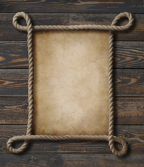 Wall Mural - Pirate theme nautical rope frame with old paper background