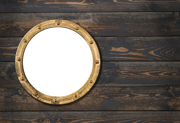 ship or boat porthole frame on wooden wall 3d illustration
