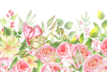 Flower watercolor Border