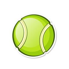 Vector illustration. Green tennis ball. Sports equipment. Cartoon sticker in comics style