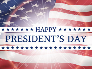 Happy president's day - poster with the flying flag of the United States of America