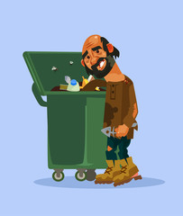 Homeless man character look for food in trash can. Vector cartoon illustration