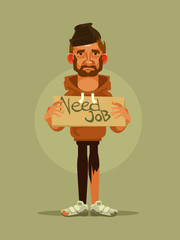 Man need job. Vector cartoon illustration