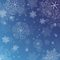 Snowflakes on a blue background. Vector Illustration
