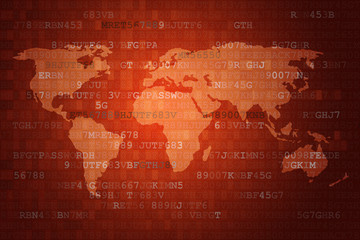 Red Digital Abstract technology background with world map