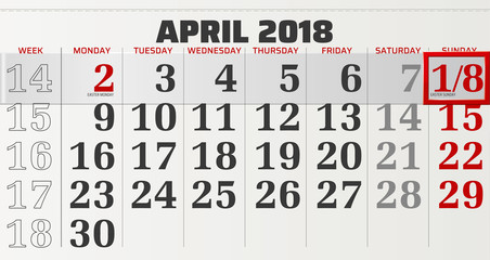 vector calendar of april 2018 with slidable red frame highlighting easter