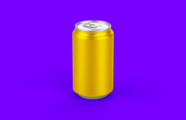 Aluminum can mockup isolated on background. 330ml aluminum tin soda can mock up.