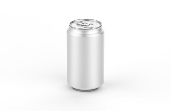 Aluminum white can mockup isolated on white background. 330ml aluminum tin soda can mock up.