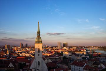 City Of Bratislava Sunset Cityscape In Slovakia