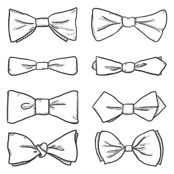 Vector Set of Sketch Bowties. Bow Ties Collection.