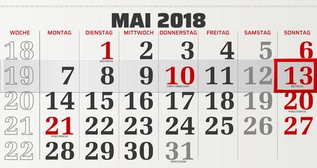 Monatskalender Mai 2018 Vektor Grafik mit verschiebbarem Rahmen