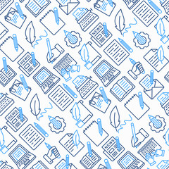 Copywriting seamless pattern with thin line icons: letter, e-mail, book, blogging, hand with pen, feather, typewriter, article, seo. Modern vector illustration.