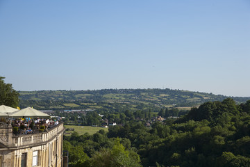 The terrace of The Avon Gorge Hotel with views over the Avon Gorge and open countryside beyond. Bristol, UK