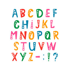 Vector set of alphabet letters and punctuation symbols