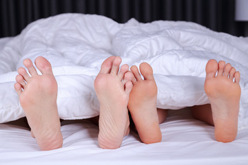 close up of four feet in bed
