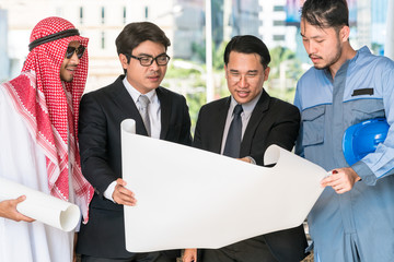 Engineer, businessmen and Arab man meeting