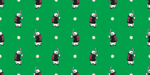 Bear seamless pattern vector polar bear teddy baseball wallpaper isolated background