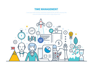 Time management. Planning and organization of working hours, regulation, teamwork.