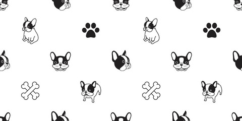 dog isolated french bulldog pug paw seamless pattern dog bone wallpaper background repeat